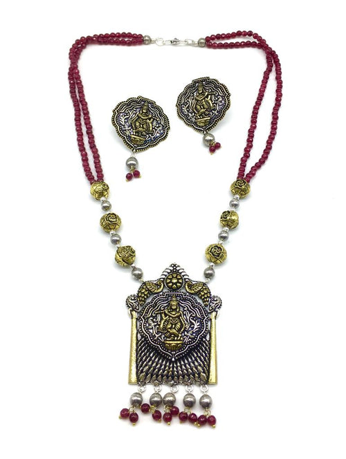 Digital Dress Room krishna ji Pendant Red Beads Necklace Earring Set