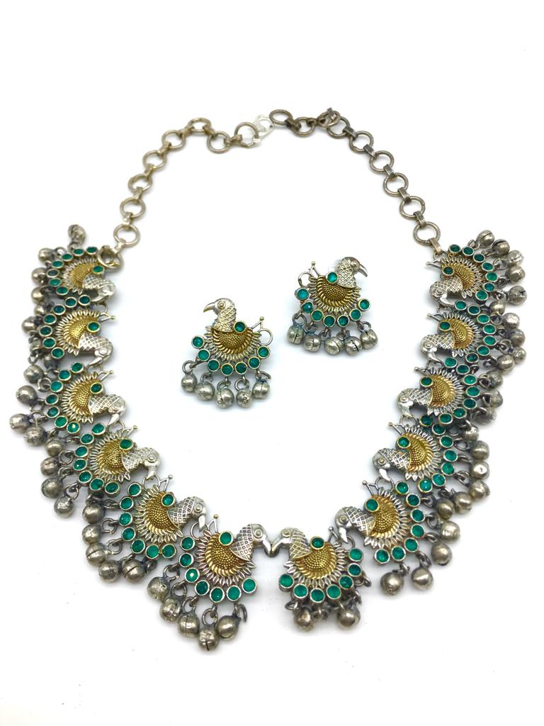 Dancing Peacock Design Green Stone with Ghungroo Beads Necklace Earring Set - DigitalDressRoom