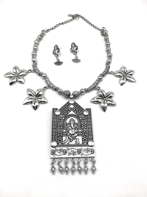Digital Dress Room Silver Ganesh Ji Pendant Flower Beads Chain Necklace Earring Set