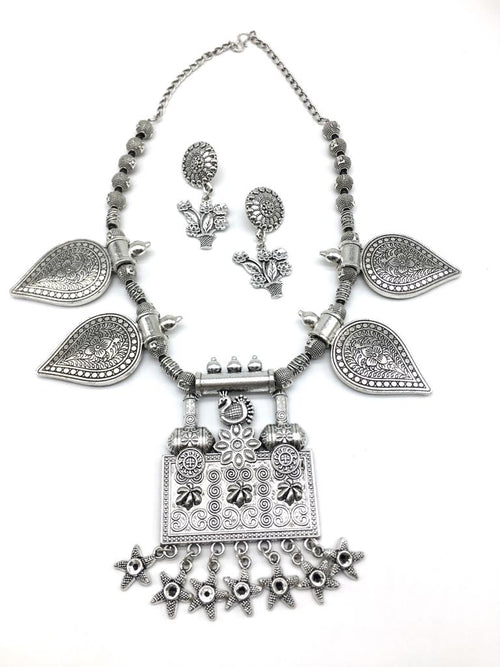 Digital Dress Room Silver Peacock Flower Design Pendant Star Leaf Beads Chain Necklace Earring Set