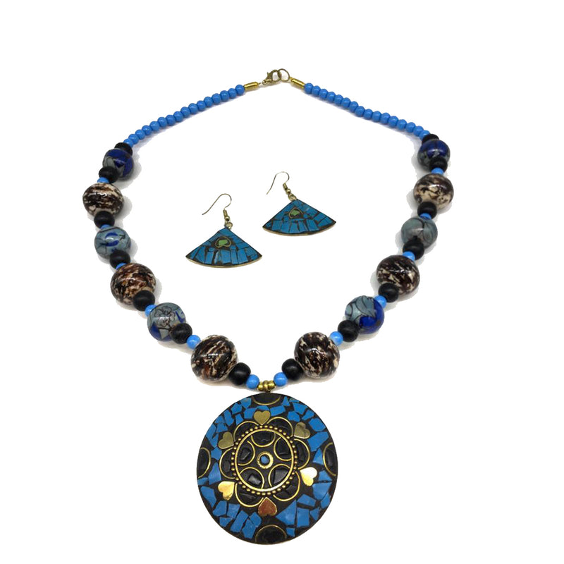Afghani Tibetan Necklace Set Antique Golden Brass Multi-Color Pendant Necklace with Earring - DigitalDressRoom
