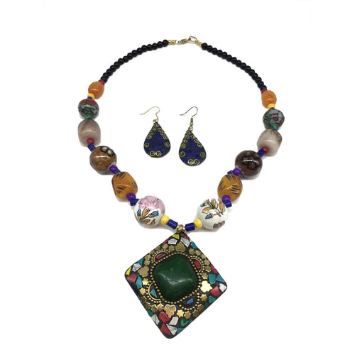 Digital Dress Room Latest Short Necklace Set Designs in Gold Finish Antique Design Multi-Color Pendant Necklace & Earrings