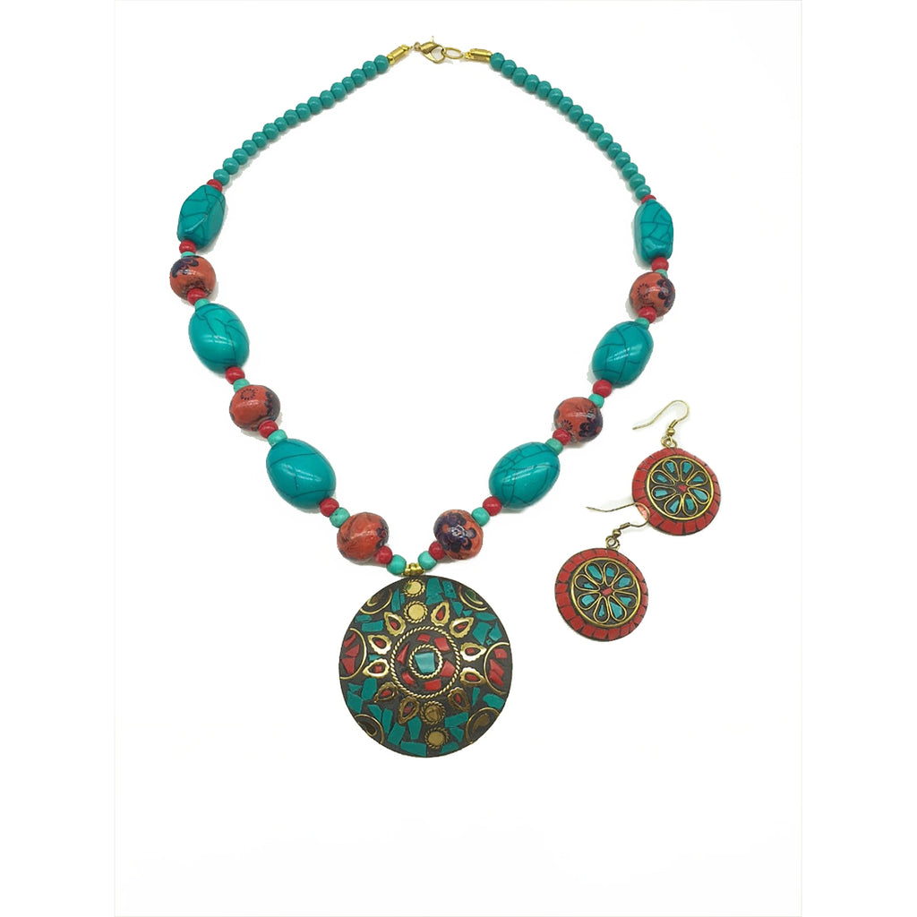 Latest Short Necklace Set Designs in Gold Finish Antique Design Multi-Color Pendant Necklace & Earrings - DigitalDressRoom