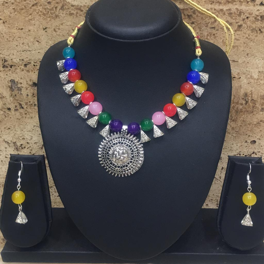 Silver Plated Ganesh Ji Pendent Multicolor Beaded Necklace Earring Set