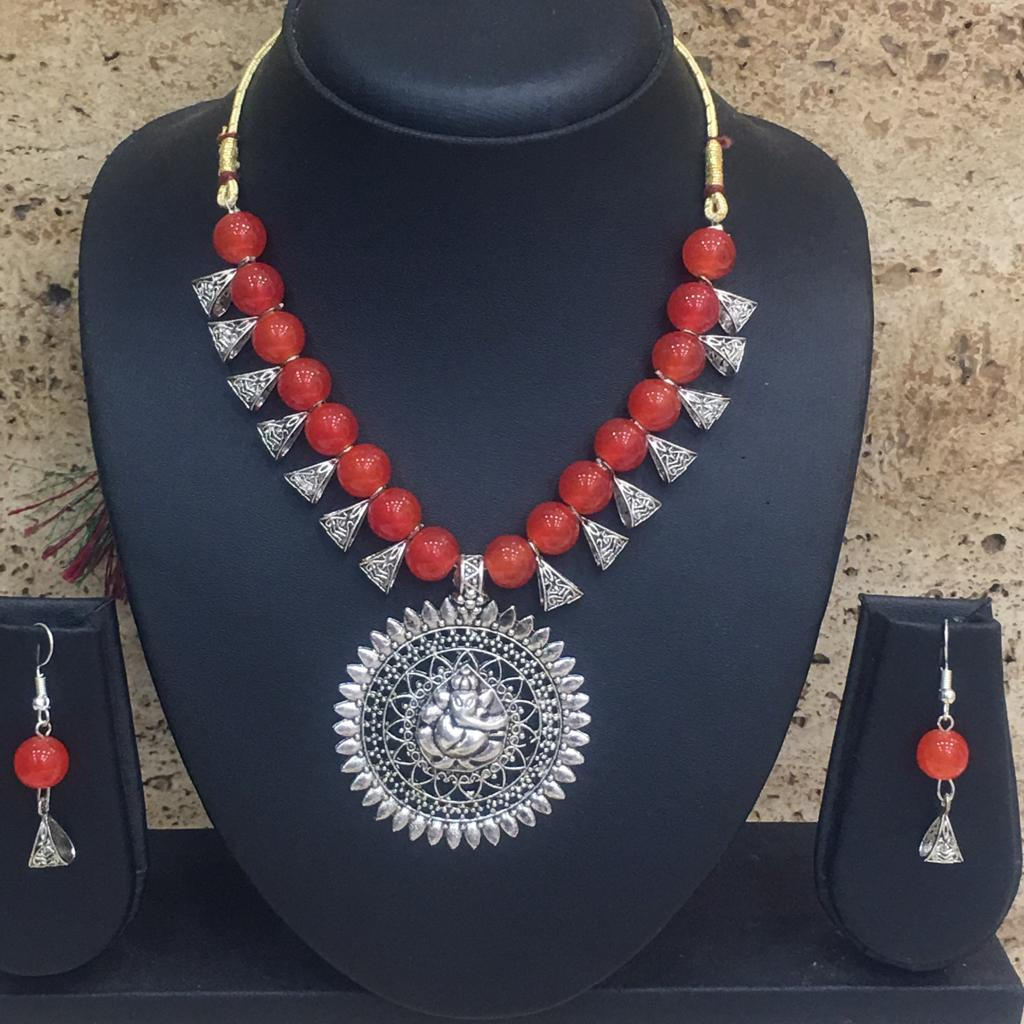 Silver Plated Ganesh Ji Pendent Orange Beaded Necklace Earring Set - DigitalDressRoom