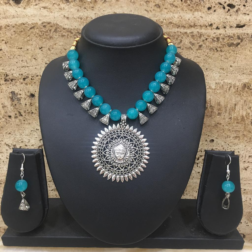 Antique Silver Plated Laxmi Pendent Blue Beaded Necklace Earring Set