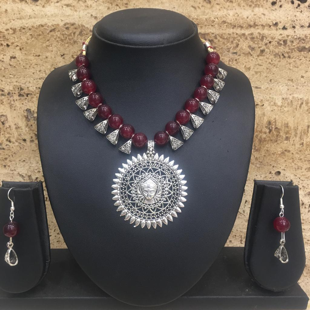 Antique Silver Plated Lakshmi (Laxmi) Pendent Red Beaded Necklace Earring Set - DigitalDressRoom