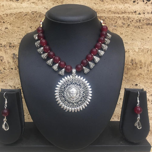 Digital Dress Room Antique Silver Plated Lakshmi (Laxmi) Pendent Red Beaded Necklace Earring Set
