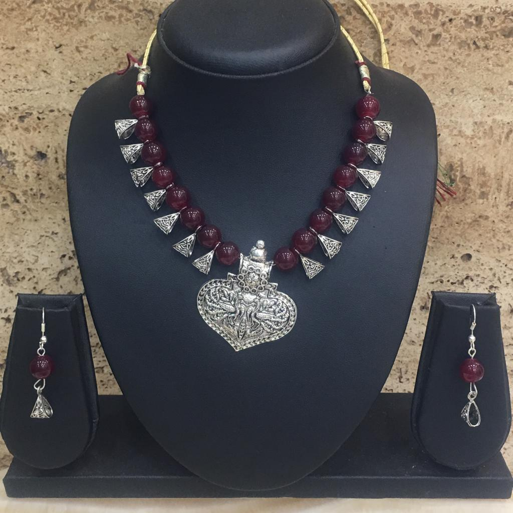 Peacock Design Pendent Dark Red Beaded Necklace Earring Set - DigitalDressRoom