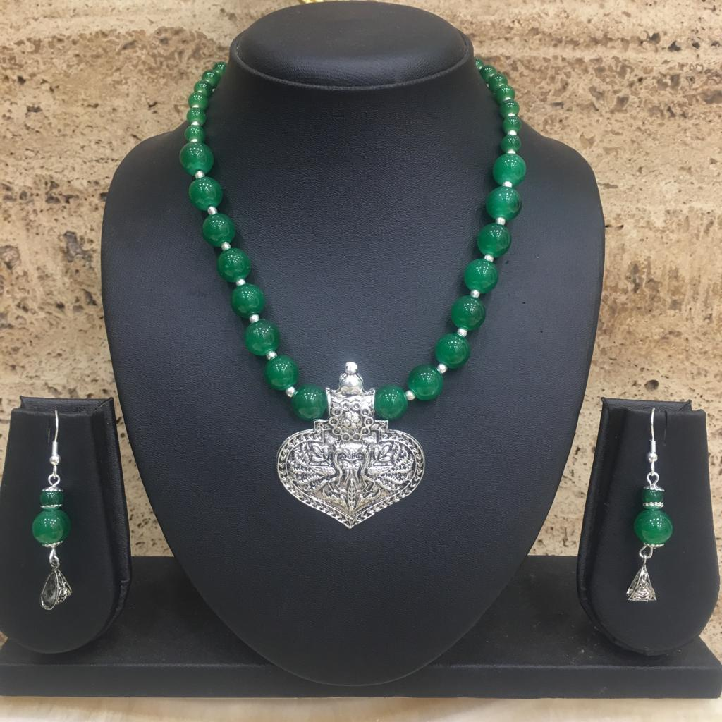 Silver Plated Peacock Design Pendent Green Beaded Necklace Earring Set