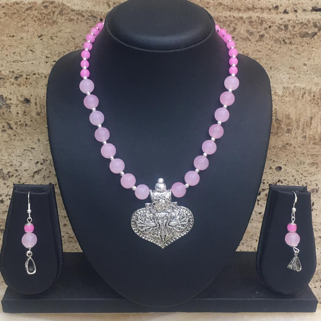 Silver Plated Peacock Design Pendent Pink Beaded Necklace Earring Set - DigitalDressRoom