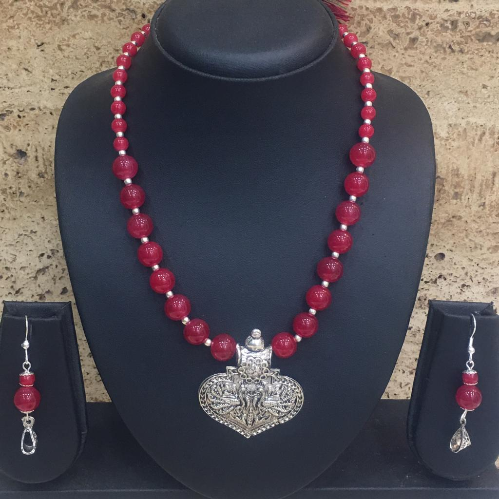Silver Plated Peacock Design Pendent Red Beaded Necklace Earring Set - DigitalDressRoom