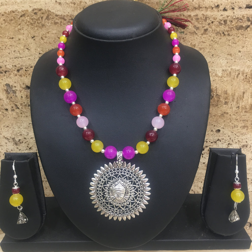 Multi color Beads With Silver Lakshmi (Laxmi) Pendent Necklace Set - DigitalDressRoom