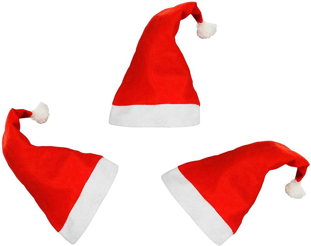 3 Pieces Red White Santa Claus Hat Cap for Christmas Accessory - DigitalDressRoom