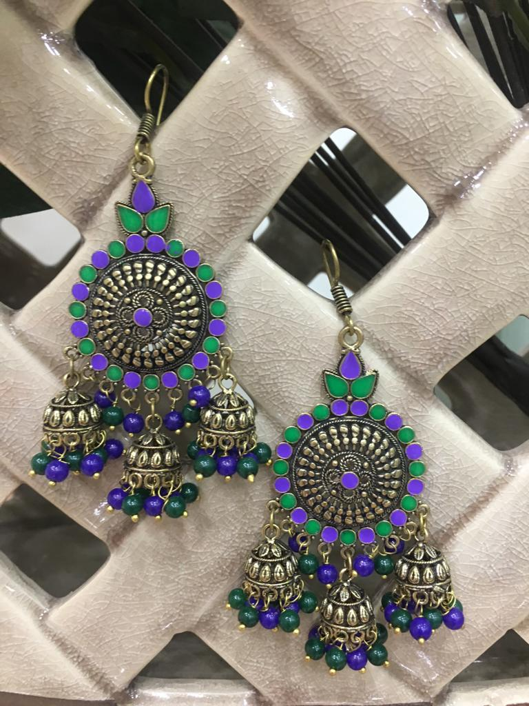 Indian Traditional Silver Plated Purple and Green Long Multi Jhumki Earrings