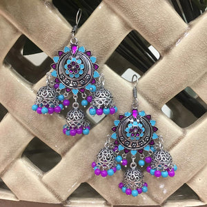 Indian Traditional Silver Plated Purple and Turquoise Long Multi Jhumki Earrings