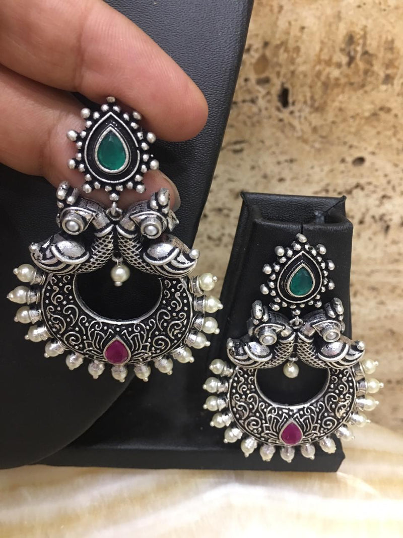 Digital Jhumki Earrings for Women Designer Oxidised Silver Earrings Afghani Tribal Bohemian German Silver Stylish Party Wear Dangle Drop Earrings Jaipuri Tribal Hoop Earrings Mantra Antique Jewellery