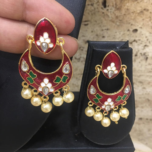 Digital Dress Room Red & Blue Enamel Earring With Gold Pearls