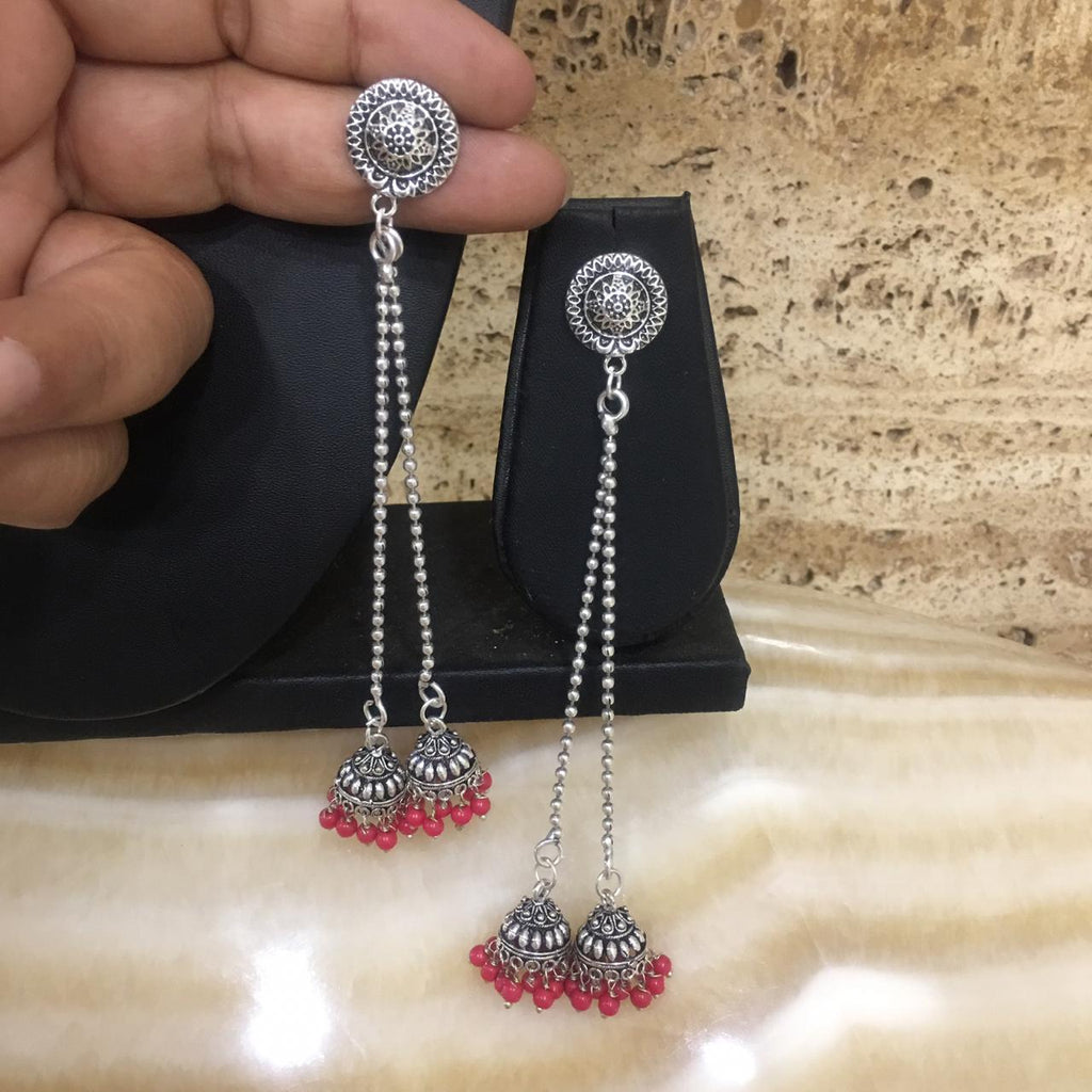 Silver Plated Long Kashmiri Jhumki Earrings with Red Beads