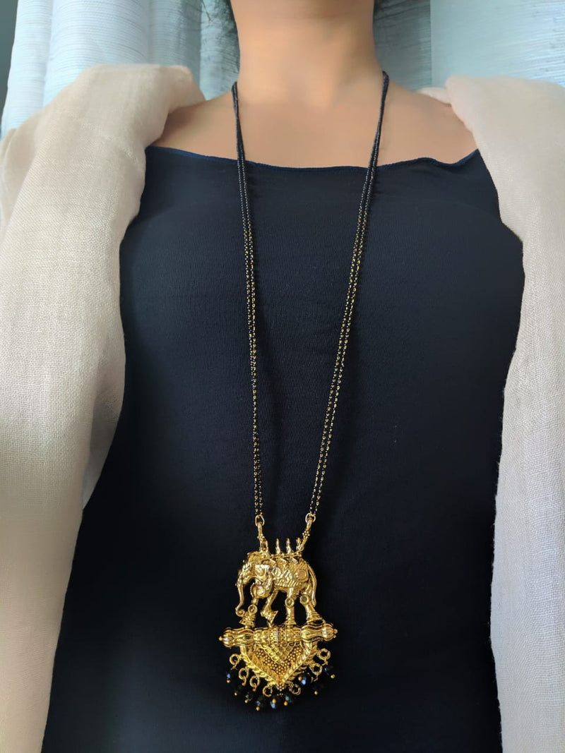Oxidized Gold Plated Elephant Style Pendant Mangalsutra Black Beads Double Line Layer Long Chain