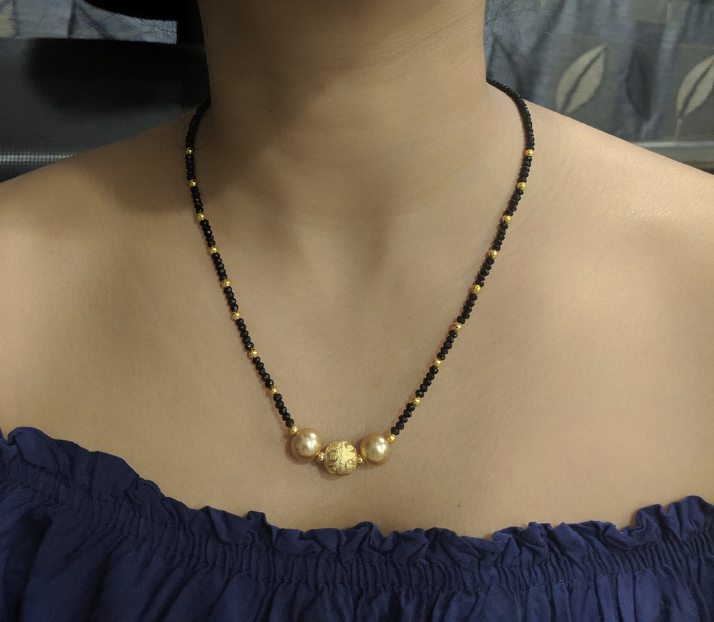 Digital gold plated mangalsutra for women latest design gold plated black beads mangalsutra for women traditional mini mangalsutra gold jewellery long mangalsutra for women lakshmi pendant mangalsutra