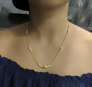 White Pearls Beads Single Line Short Mangalsutra