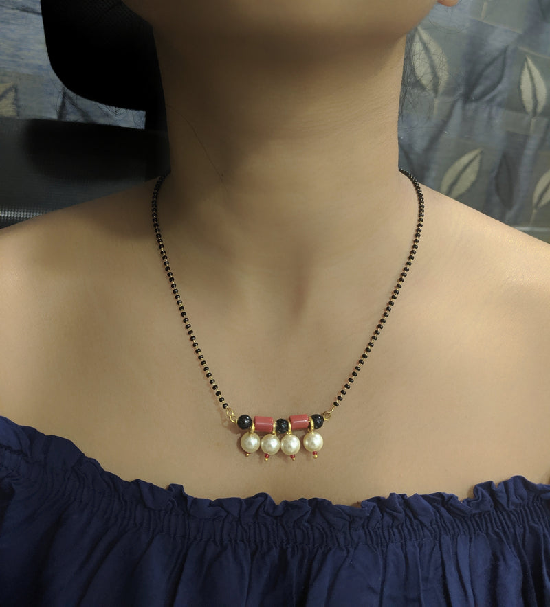 Short Mangalsutra Designs Gold Plated Latest Coral White Pearls Pendant Black Beads Mangalsutra - DigitalDressRoom