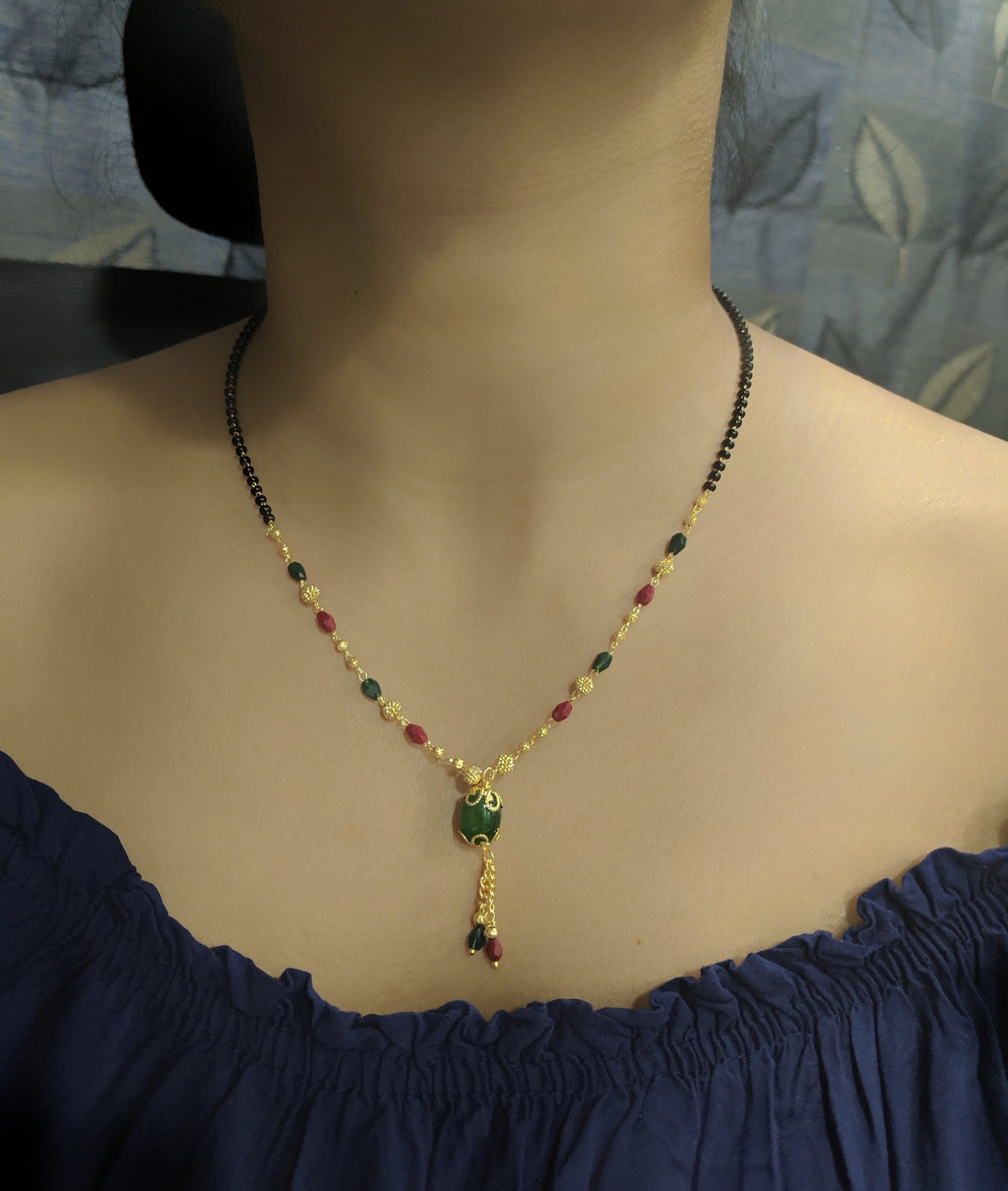 Short Mangalsutra Designs Gold Plated Latest Green Stone Pendant Multi-Color Latkan Mangalsutra - DigitalDressRoom