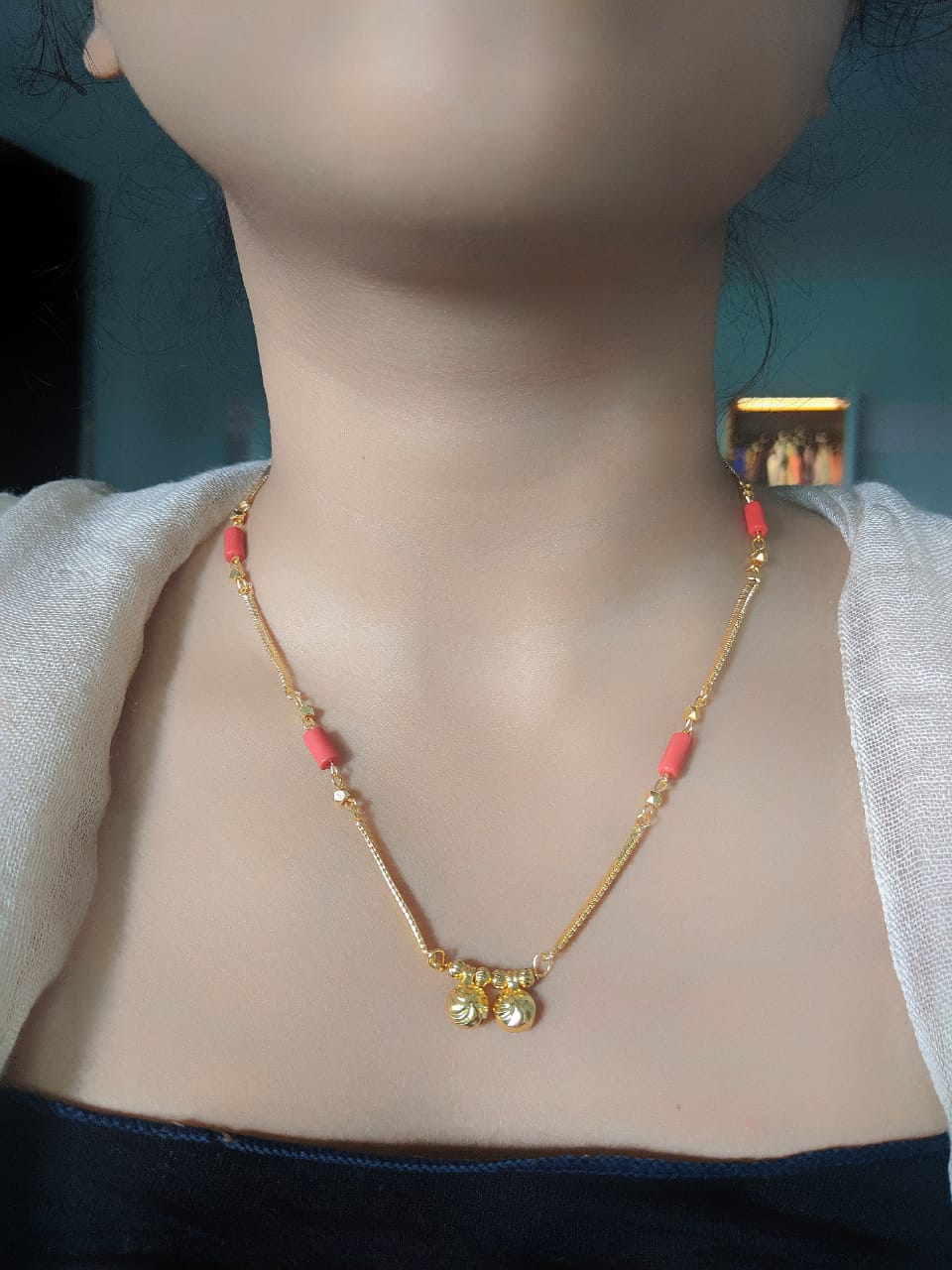 Short Mangalsutra Designs Gold Plated Latest Coral with 2 Vati Pendant Mangalsutra - DigitalDressRoom