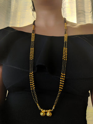 Digital Jewellery Women's Pride Gold Plated Alloy 2 Vati Tanmaniya Pendant Mangalsutra 35-inch Length Chain Traditional Golden Black Mani Beads Double Line Layer Long Necklace for Girls
