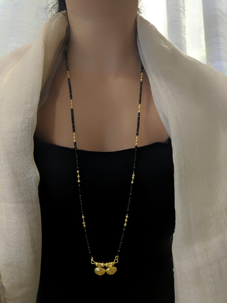 Digital Jewellery Women's Pride Gold Plated Alloy 2 Vati Tanmaniya Pendant Mangalsutra 31-inch Length Chain Traditional Golden Black Mani Beads Single Line Layer Long Necklace for Girls