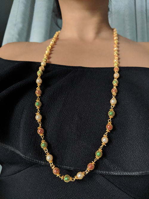 Digital Dress Room Multi-Color with White Pearl Necklace