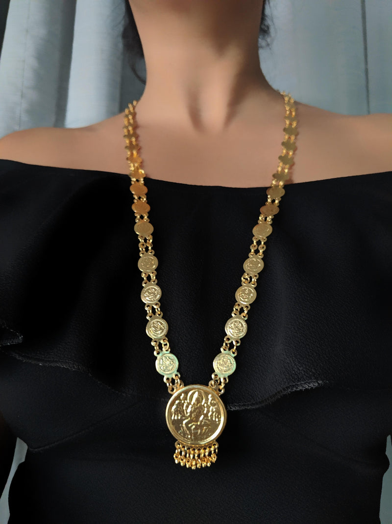 Digital Jewellery Women's Pride Gold Plated Alloy Round Laxmi Pendant Necklace 32-inch Length Golden Single Layer Long Chain Mangalsutra for Girls