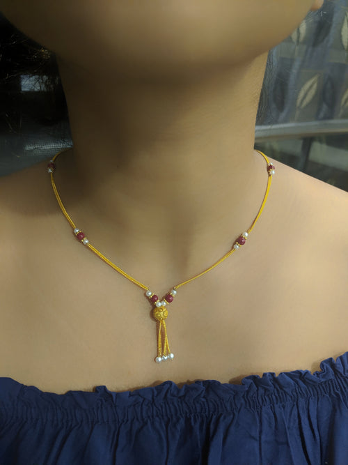 Digital Dress Room Short Mangalsutra Designs Gold Plated Latest Red Mani Beads Single Line Layer Chain Mangalsutra