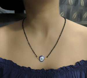 Short Mangalsutra Designs Gold Plated Latest White Blue Diamond Evil-Eye Pendant Mangalsutra - DigitalDressRoom