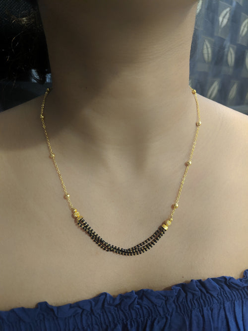Digital Dress Room Short Mangalsutra Designs Gold Plated Latest Black Beads Chain Pendant Mangalsutra