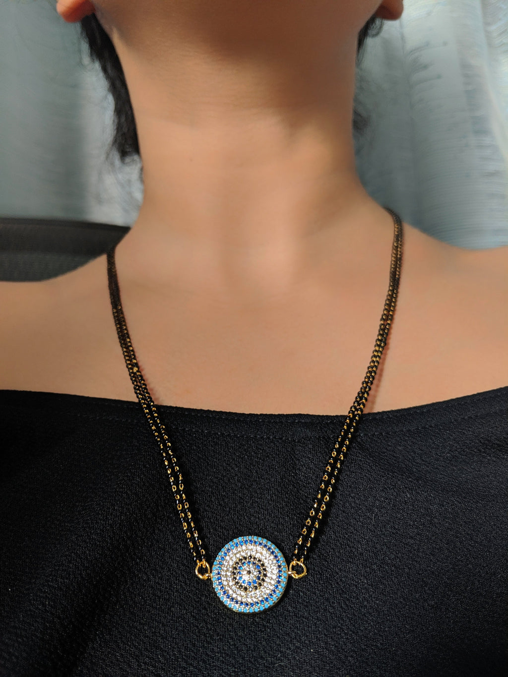 Long Mangalsutra Designs Gold Plated Latest Blue Black Diamond Evil-Eye Pendant Mangalsutra - DigitalDressRoom