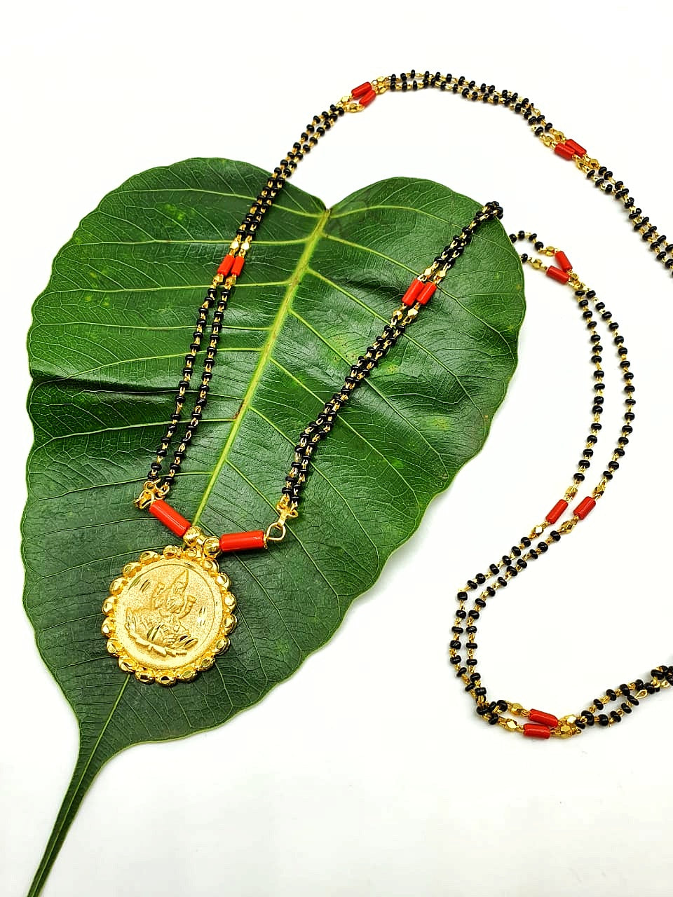 Long Mangalsutra Designs Gold Plated Latest Lakshmi (Laxmi) Coin Pendant Black Beads Coral Mangalsutra - DigitalDressRoom