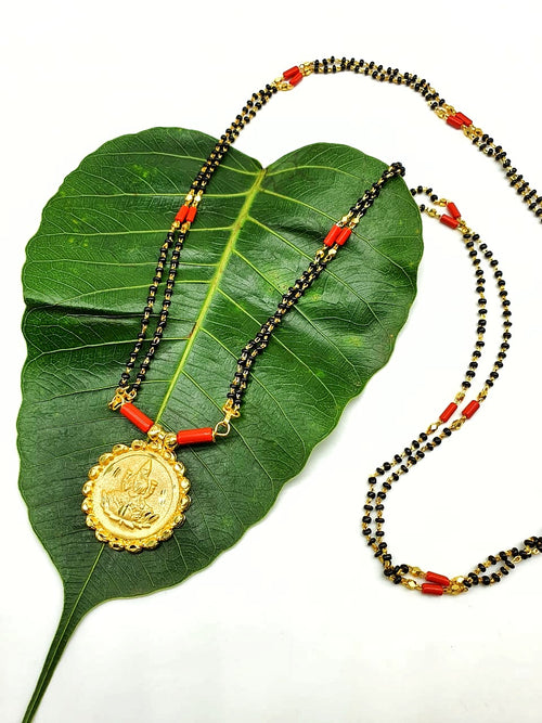 Digital Dress Room Long Mangalsutra Designs Gold Plated Latest Lakshmi (Laxmi) Coin Pendant Black Beads Coral Mangalsutra