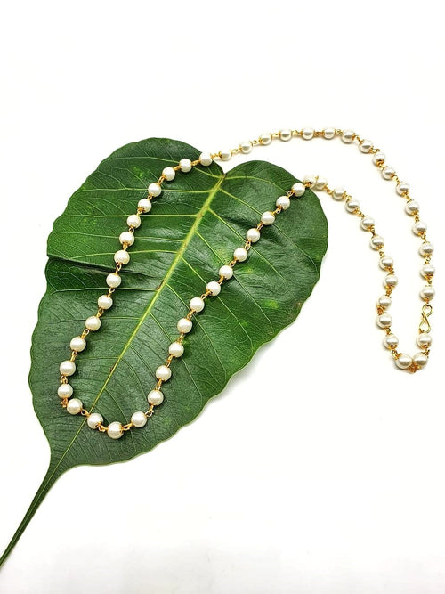 Digital Dress Room Latest Long Necklace Designs in Gold Finish White Pearl Bead Traditional Mala Necklace