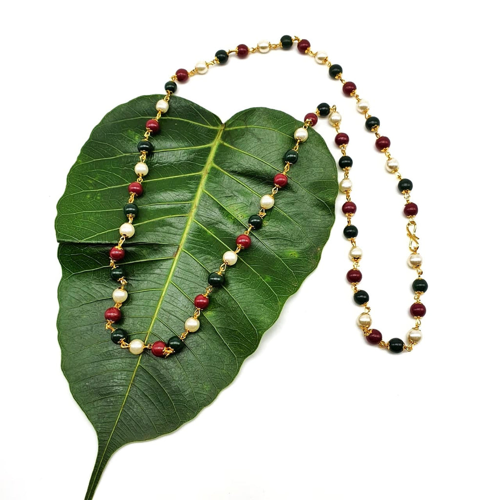 Gold Plated Necklace with Red Green & White Pearl Mala Necklace - DigitalDressRoom