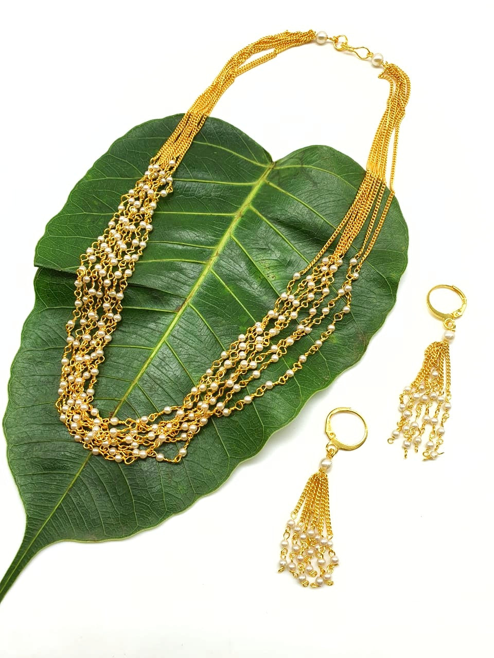 Gold Plated Jewelry Set with Multi Layer Gundla White Pearl Necklace with Hook Earrings - DigitalDressRoom