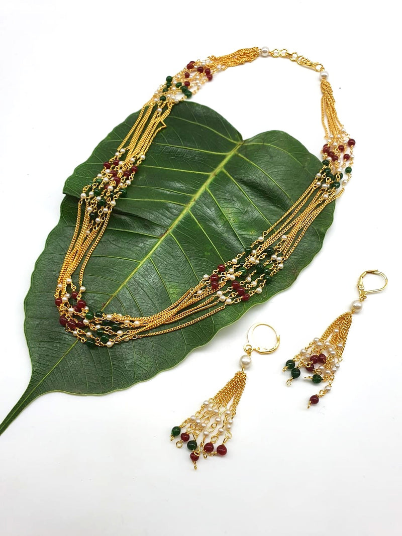Digital Dress Room Latest Short Necklace Set Designs in Gold Finish Multicolor Beads Necklace & Earrings
