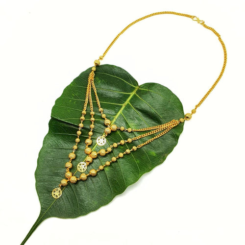 Digital Dress Room Necklace Set Women's Pride Multi Strand Designs Gold Plated Triple Hain 3 Layer Gundla Mala Big Golden Mani Necklace