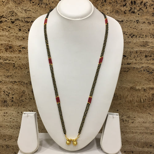 Digital Dress Room Long Mangalsutra Designs Gold Plated Latest Vati Pendant Double Layer Mangalsutra