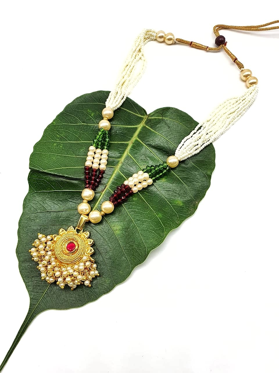 Gold Plated Necklace with Designer Pendant Pink Stone Multicolor White Pearl Bead Mala Necklace - DigitalDressRoom