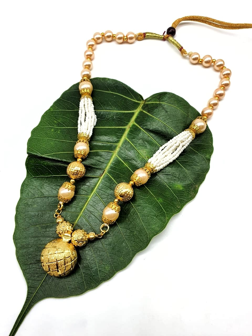 Gold Plated Necklace with Vati Pendant Big Golden Bead Mala Necklace - DigitalDressRoom
