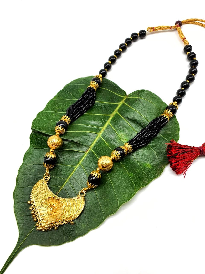 Digital Dress Room Short Mangalsutra Designs Gold Plated Latest Traditional Big Black Bead Multi Strand Layer Mangalsutra