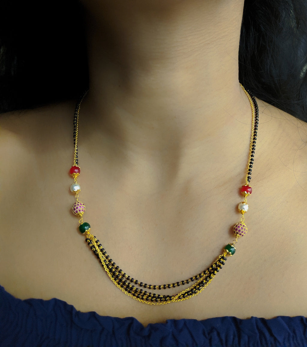 Short Mangalsutra Designs Gold Plated Latest Antique Multi Strand Red Green Stone White Pearl Mangalsutra - DigitalDressRoom