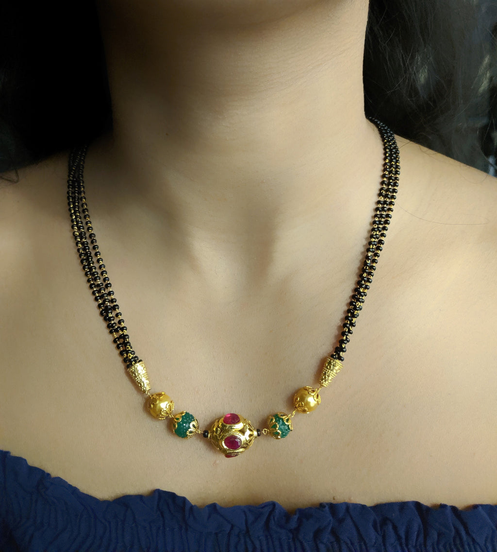 Short Mangalsutra Designs Gold Plated Latest Red Stone Green Beads Mangalsutra - DigitalDressRoom